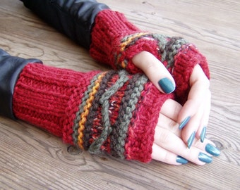 Red fingerless mittens hand knit gloves feminine boho striped wool armwarmers Bohemian clothing