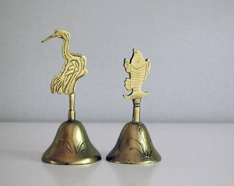 Chinese Brass Bells, Vintage Chinoiserie, Cast Metal Bells, Asian Decor, Fish Bird Bells, Travel Souvenir, Desktop Accessory, Metalware
