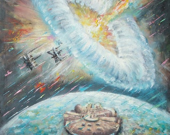 "Falcon Star Wars Painting, Handmade Sci-Fi Star Wars Art, Star Wars Gift, Star Wars 13x19"" Painting on Canvas"