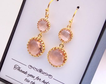 Gold Peach Earrings, Champagne Earrings, Blush Earrings, Wedding Jewelry, Bridesmaid Earrings, Dangle, Bridesmaid Jewelry, Bridesmaid Gifts