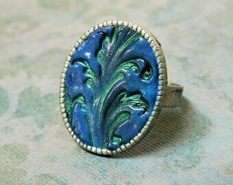 Royal Blue Green Art Nouveau Statement Cocktail Ring Silver Adjustable Ring Polymer Clay Jewelry,  Abstract Nature Whimsical Fun Jewelry