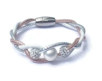 Silver, Rose Gold, White Leather Bracelet, Womens Leather Jewelry, Womens Leather Bracelet, Leather Bangle, Twist