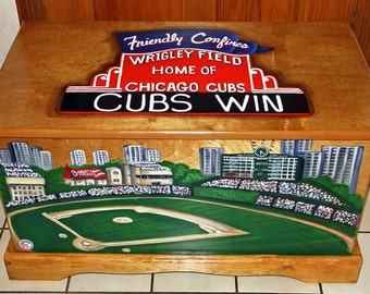Custom Baseball Staduim Toy Box memorable in any sports theme room, kids room or casual entry hall.