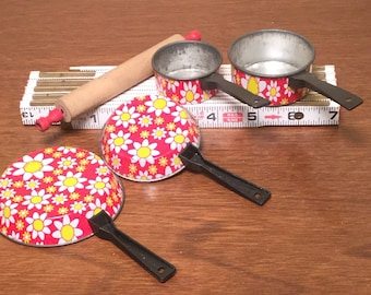 Vintage Child's Aluminum Pretend Play Pots and Pans Doll Sized Red Cooking Set Flower Print Toy Pots and Pans and Rolling Pin