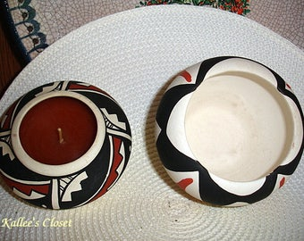 Excellent Vintage (2) Artist Signed ACOMA PUEBLO Native American Pottery Bowl & Candle