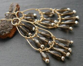 Labradorite, Chandelier Earrings, 14K Gold Fill, Wire Wrapped, Fringe, Teardrop Earrings, Gemstone Earrings, Wedding Earrings, Bohemian
