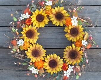 Fall Wreath Sunflowers