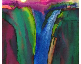 Victoria Falls, Zimbabwe, Contemporary, Colorful, Trees,Splendid Sunset, Magenta,Teal,Vibrant, Watercolor Fine Art Print by Janet Dosenberry