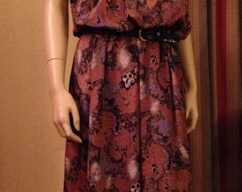 Nice Silky Polyester Eighties Brown Leafy Pattern Dress by Tabby