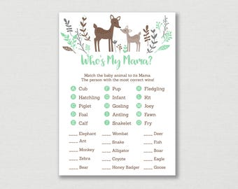 Woodland Deer Baby Animal Match Game / Deer Baby Shower / Woodland Baby Shower / Who's My Mama / Gender Neutral / INSTANT DOWNLOAD A175