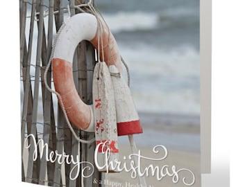 NAUTICAL Christmas Cards Beach Holiday COASTAL Cards Seaside Dunes Fence Buoys & Life Beach Path Ring Square set of 10 folded +envelopes