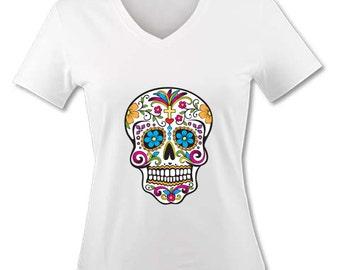 Adult V-Neck T-Shirt - Skull Mexican - muerte los Dias