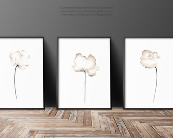 Set of 3, Floral wall art prints, Abstract flowers, Poppies Set of 3, White Flower Painting, Poppy Watercolor, Giclee Print, Women gift idea
