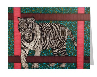 Tiger Greeting Card - Blank 5x7 Card - Wildlife Stationery - Wild Animal Card - Cat Lover Gift - Tiger Drawing- Animal Kingdom - Zoo Card