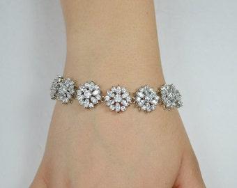Bridal Cubic Zirconia Crystal Bracelet, Clear Crystals, Wedding Jewelry, Silver Tone, Ramona bracelet - Ships in 1-3 Business Days