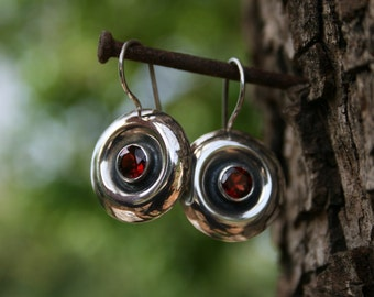 Silver Earring, Red Garnet CZ Earrings, Silver Earrings, Handmade 925 Silver Earrings