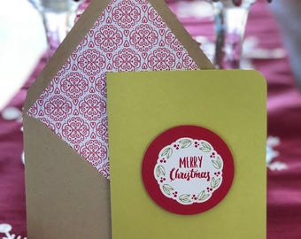 Merry Christmas Wreath Card with Lined Envelope