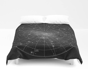 Duvet Cover, Constellation, Star Map, Astronomy, Astrology, Celestial Map, Star Chart, Space, Night Sky, Black and White