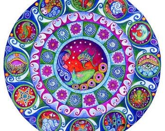 Pisces Wall Art Astrology Mandala Print March Birthday Art Mermaid Zodiac Wall Decor Gift for Friend Yoga Decor Healing Inspirational Art