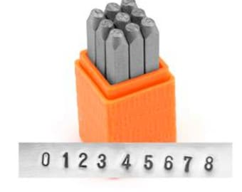 "Sans Serif Metal Number Set Custom Stamping ImpressArt Jewelry Stamping Set 1/8"" Steel Punch 0-8 3MM"