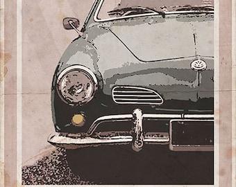 Volkswagen Karmann Ghia - Vintage Style Poster