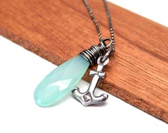 Mint gemstone jewelry, Chalcedony gemstone jewelry gift, mint aqua blue chalcedony jewelry, mint gemstone necklace, aqua gemstone