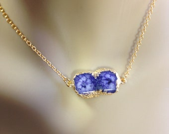 Sapphire Druzy 18K Gold Filled Minimal Layering Necklace 1185