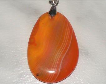 Orange Agate Teardrop Pendant