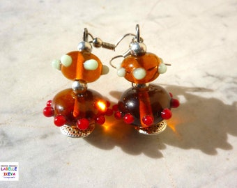 Pair of multicolor Double Pearl Earrings Murano glass Lampwork ° satellite Olé Caramel with metal