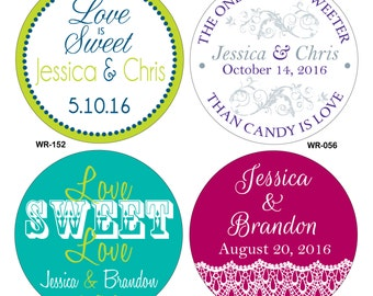 120 - 1.6 inch Personalized Glossy Wedding Stickers Labels - hundreds of designs to choose from - change designs to any color or wording