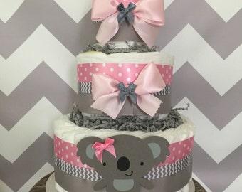 Koala Diaper Cake in Pink and Gray, Koala Baby Shower Centerpiece, Decorations
