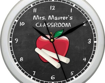 "Classroom Teacher Apple Clock 10"" Personalized Wall Clock Classroom Decor  Teacher Appreciation Gift"