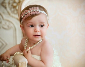 Night at the Ballet - PINK or CREAM - Ruffled Pink Headbands - Tulle Lace Pearls Rhinestone - Baby Infant Newborn Girls Adults - Photo Prop