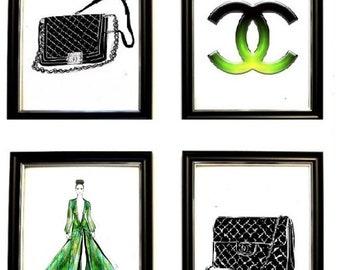 Chanel Logo Canvas Chanel Handbags Art Green Black CoCo Chanel Purses Incredible Ice