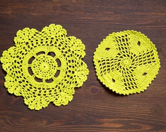 2 Lime green hand dyed Crochet Doilies  Vintage doilies