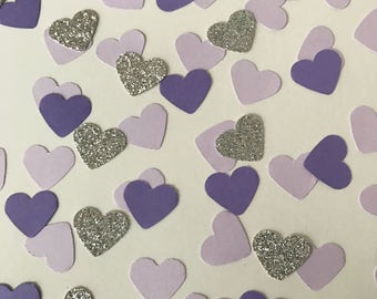 Purple Heart Confetti, Heart Confetti, Tiny Heart Confetti, Party Confetti, Glitter Confetti, Wedding Confetti, Birthday Party Confetti