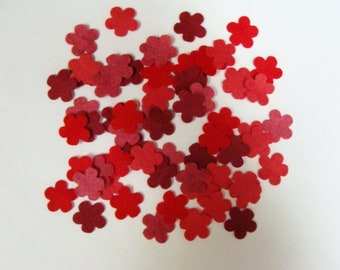 Red Posies Mini Flowers Die Cut from Wool Felt Blend Fabrics Package of 48 Pieces, 12 each of 4 different colors