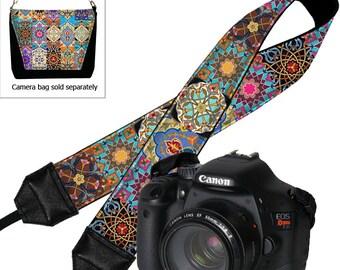 Camera Neck Strap Boho Dslr Camera Strap SLR Padded Camera Strap Nikon Canon Persian Patchwork Jewel Tones Colorful RTS