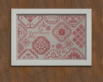 Sarah Storrs - A Quaker Sampler - Cross Stitch Embroidery Pattern - Instant Download PDF Booklet