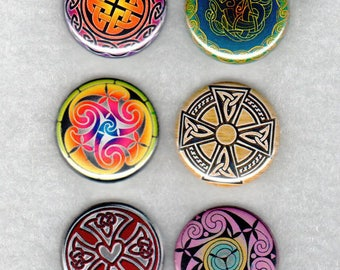 Celtic Collection. Celtic designs 1 inch buttons or magnets. One inch button or magnet set. Celtic design buttons or magnets