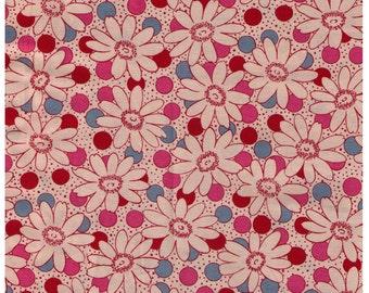 HALF YARD Yuwa - Suzuko Koseki - Daisies and Dots on Natural - Blue, Red and Pink Dots - Japanese