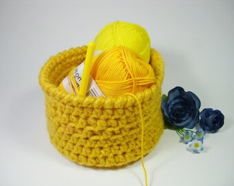 Storage basket crochet basket soft storage bin crochet trinket bowl crochet storage caddy makeup organizer crochet home decor