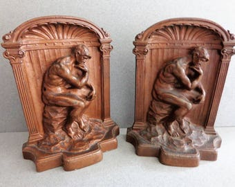 The Thinker Bookends Vintage pair of Solid Bronze Metal Book Ends