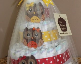 Customizable tiered owl diaper cake for baby shower or new parent gift