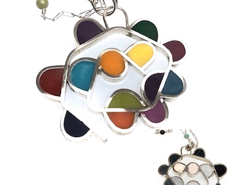 Flower Pendant Silver and Resin Hand Forged Reversible Double Sided Multicolor Black White Baubbly