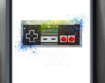 Nintendo Game Controller Watercolor Print - Video Game Poster - Retro Poster - Playroom Art - Console Poster - Man Cave Decor