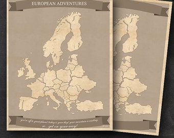 """European Travel Maps - Printable Europe Travel Map Instant Download - 11""""x14"""" EU Wall Art - 2 pack - With Text or Add your own text"""