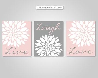 Dahlia Flower Burst Live Laugh Love Wall Art Decor - Blush Pink, Grey - Flower Wall Art - Prints - Canvas - Printable