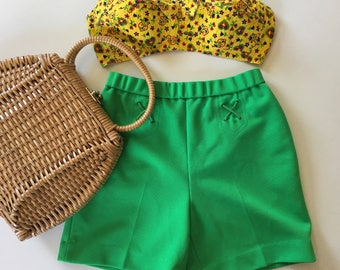 60s MOD Shorts - Lime Green - High Waisted