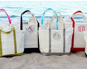 Monogrammed Canvas Tote Bag, Large Personalized Tote Bag, Canvas Boat Tote Beach Bag, Bridesmaid Bag, Monogram Tote, Bridal Party Bag